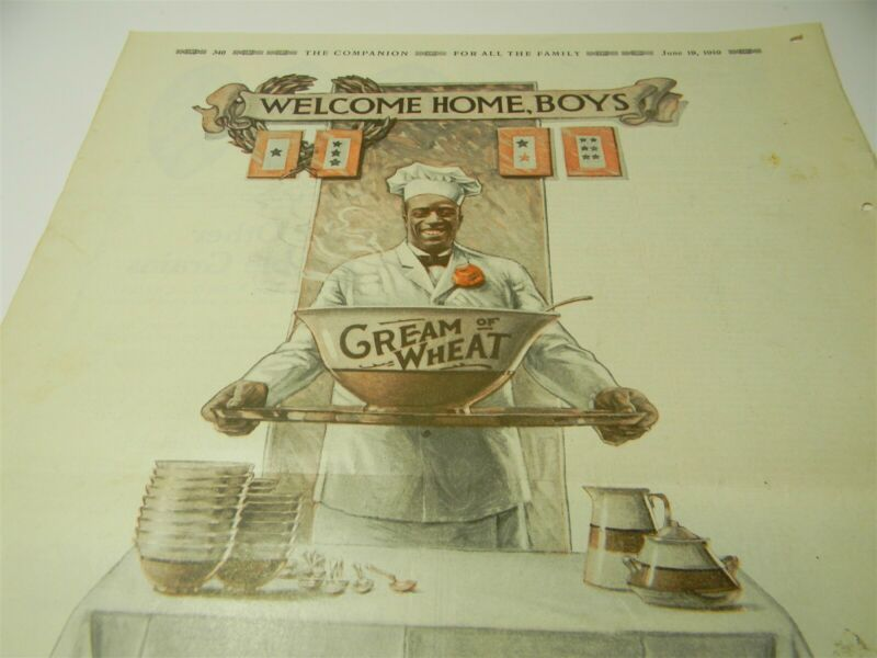 "Vintage 1919 Patriotic "" Welcome Home Boys "" Cream of Wheat Large Print Ad - 8D3"
