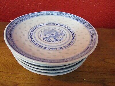 "6 Chinese vintage dragon rice pattern porcelain blue&white 5"" saucer bowls"
