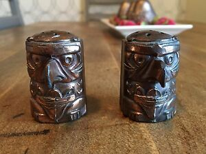 Vintage 1960s metal Totem Pole Canadian Salt and Pepper Shakers