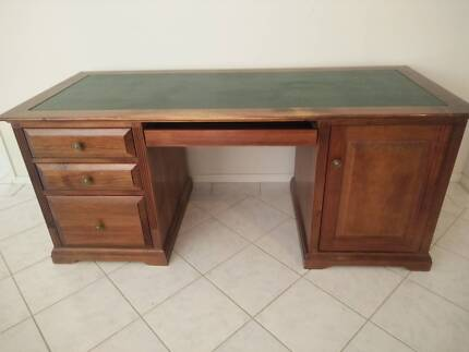 Wooden Antique Style Desk with Leather Inlay Top - Antique Desk In Melbourne Region, VIC Gumtree Australia Free