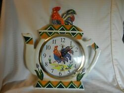 Ceramic Tea Pot Quartz Wall Clock With Rooster On Top & On Dial