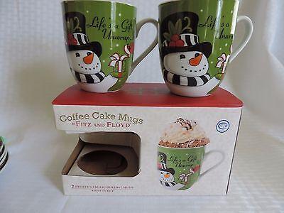 Fitz and Floyd Coffee Cake Mugs 2 Frosty's Frolic Holiday Mugs with Recipe NIB