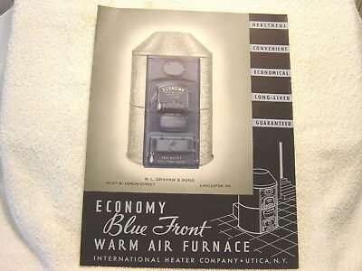 Economy Blue Front Warm Air Furnace International Heater Co 1938 Sales Brochure