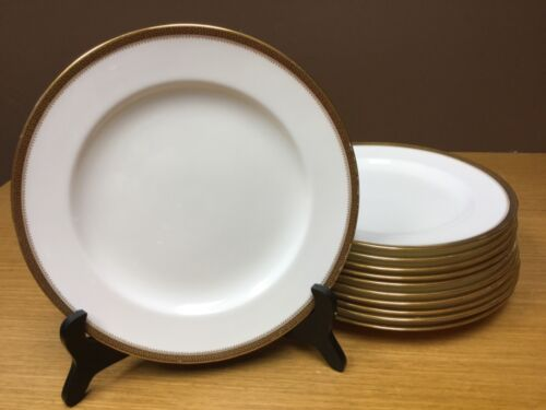 "11 Minton 9329 White Bone China w/Gold Trim 10 1/4"" Dinner Plates - England"