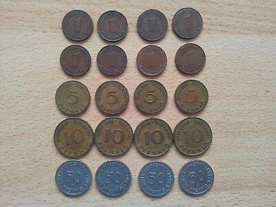 Bank deutscher Länder 1 5 10 50 Pfennig 1948-1949 D-F-G-J komplett 20 Münzen