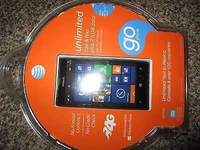 Nokia Lumia 520 GoPhone 8GB Black (AT&T) UNLOCKED Smartphone No Annual Contract