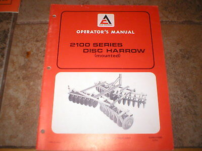 Allis Chalmers 2100 Series Mounted Disc Harrow Operators Manual