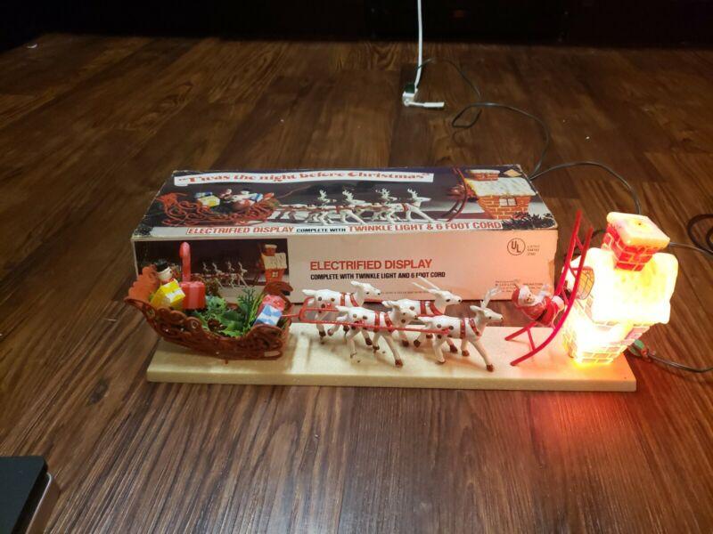 Christmas Belco Lites Santas Reindeer Light Set New Old Stock Before Christmas