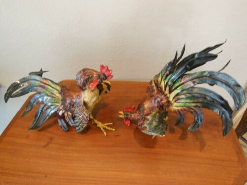 VINTAGE ITALIAN ENAMELED METAL FIGHTING COCKS, Ca. 1930
