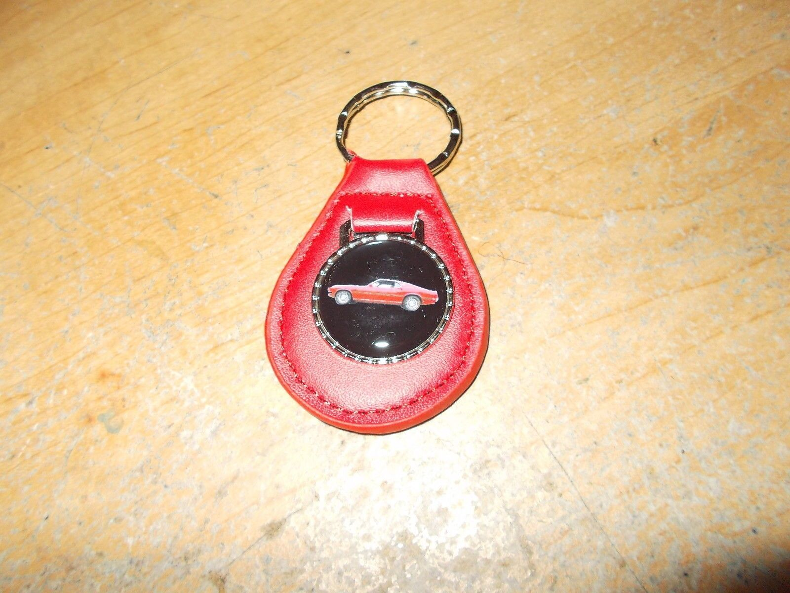 1969 FORD MUSTANG MACH 1 RED CAR LEATHER LOGO KEYCHAIN KEYRING NEW RED NICE!!