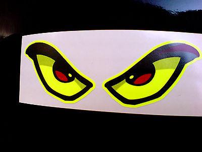 FLOURESCENT EVIL EYES Car Motorcycle Helmet Stickers Decals 1 off Pair 90mm