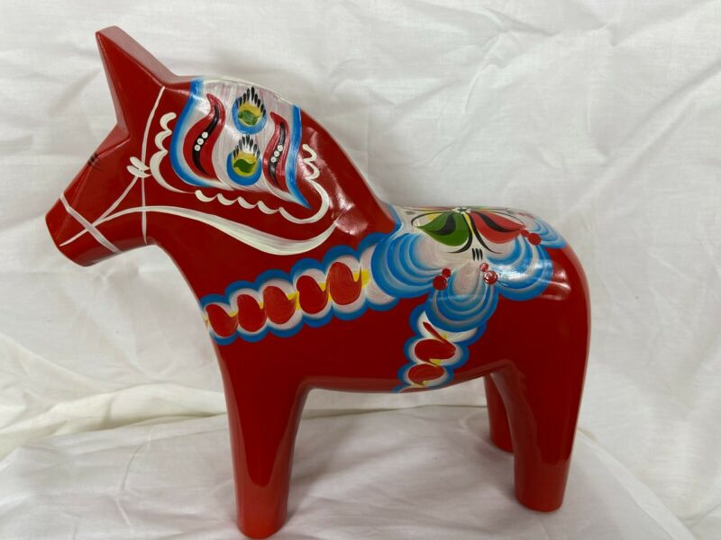 "New Grannas A. Olson's Swedish hand painted wood Dala Horse 25cm, 9.8""tall"