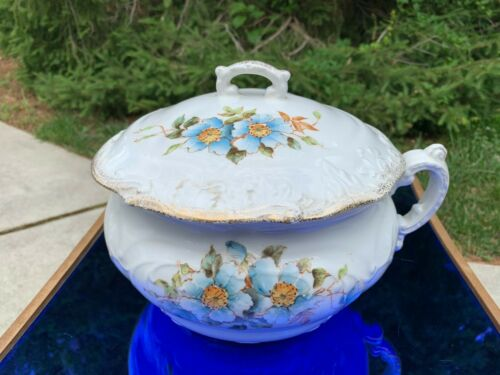 Antique Chamber Pot with Lid Ironstone Blue Flowers Embossed Leaves MINT COND.