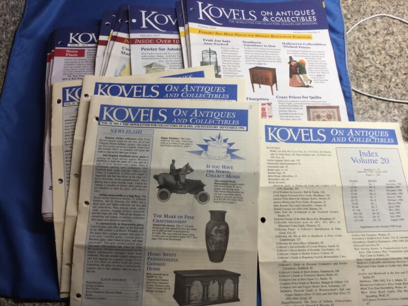 LOT 56 + 1 INDEX KOVELS ANTIQUES & COLLECTIBLES NEWSLETTERS 2010-2017 And 1994