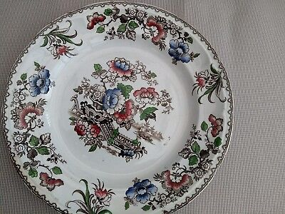 Stoneware Plate Design A Very Old Vintage plate Flowers and Japanese pics 1850