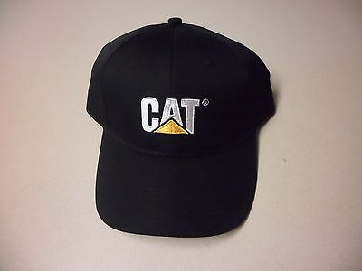 Caterpillar Ball Cap Hat black Cat logo fabric strap w/ buckle closure