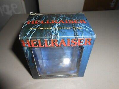2003 NECA Hellraiser Pinhead Laser Engraved Acrylic Paper Weight Original Box Weight Box Paper