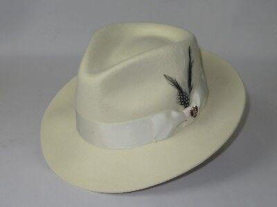 Aussie Wool - Mens Bruno Capelo Dress Hat Australian Wool Fedora Tear Drop Fabio Off White New
