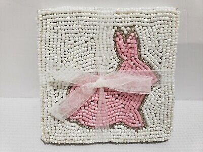 Easter Spring Pink Bunny Rabbit Beaded Coaster Home Decor Set of 4 Easter Spring Home Decor