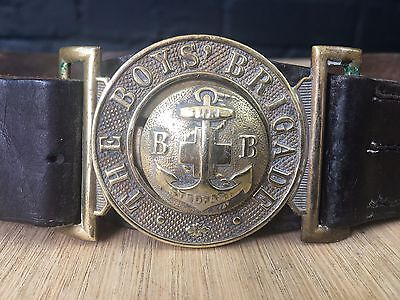 ANTIQUE VINTAGE 1920/30S BOYS BRIGADE BROWN LEATHER BELT WITH BRASS BUCKLE