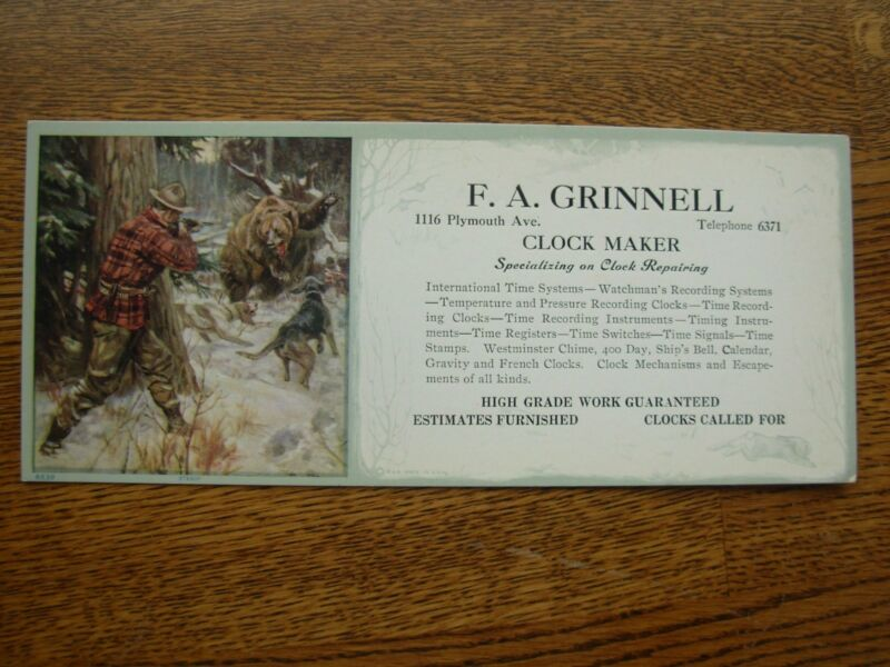 RARE PHILIP GOODWIN ADVERTISING INK BLOTTER F.A. GRINNELL VINTAGE