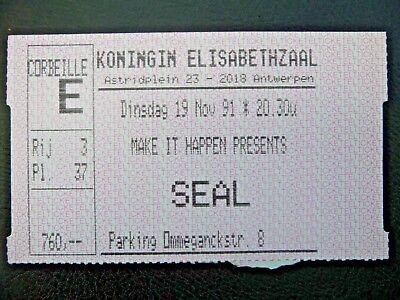 Concert Ticket - SEAL - Koningin Elisabethzaal - Antwerpen - Belgium - 1991