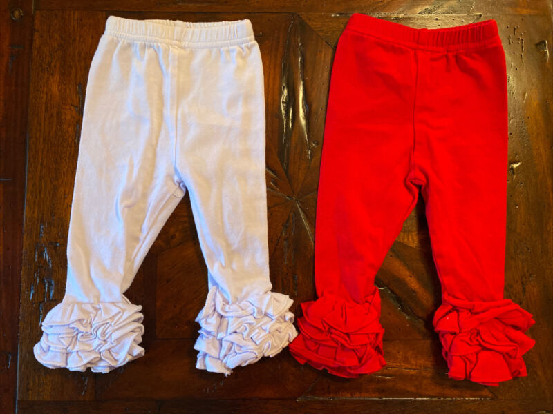 Bundle Lot Of 2 Ruffle Bottom Infant Baby Girls Size 3 Months Pants - Red/ White