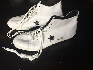 White leather Converse One Star shoes