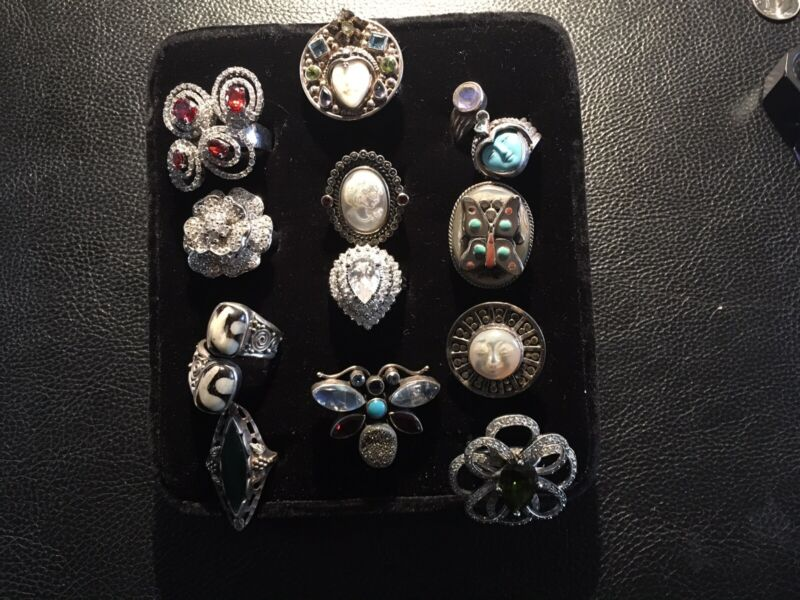 12 Sterling Silver Rings  Marked But  1 Worth A Lot More Sold Separate 155 Gra