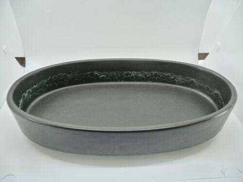 """Vintage Japanese IKEBANA Vase Holder Bowl 12 1/2"""" Oval Matte Black Used"""