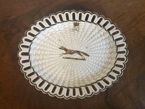 Antique English Creamware Pearlware Basketweave Plate Turner Crown Crest 19th c.