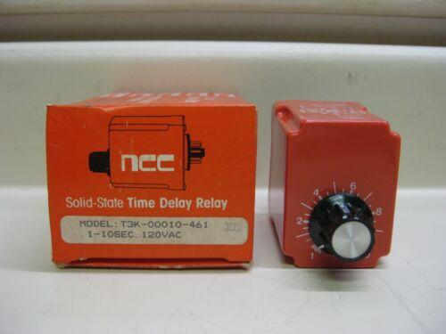 New NCC Ametek T3K-00010-461 1-10 Sec 120V Solid State Timer Time Delay Relay