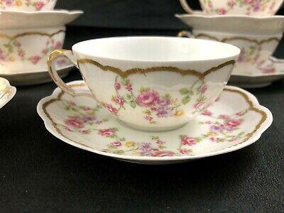 🟢 Antique Frank Haviland Limoges Paris Pink Yellow CUP & SAUCER SET - 10 avail. Haviland Limoges Set