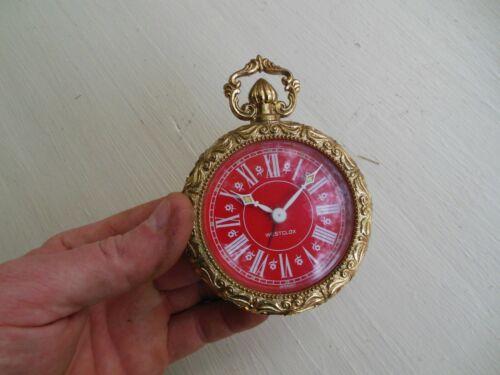Vintage Westclox Alarm Clock Red Dial Ornate Germany Works Small