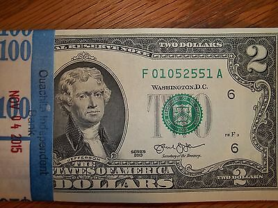 Crisp Uncirculated 2013 Two Dollar Bill  1  Crisp  2 Note Sequential Numbers