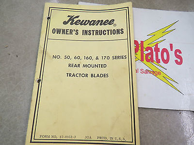Kewanee Owners Instructions No 50 60 160 170 Series Rear Mounted Tractor Blades