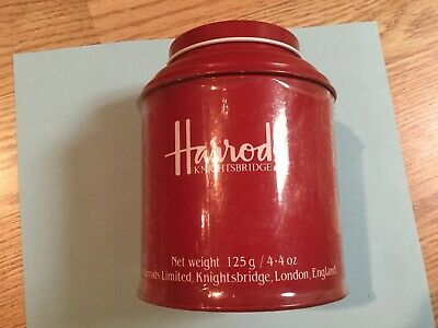Vintage Expired Harrods 4.4 Oz Breakfast Red Tea Tin 1998, About 75% Full