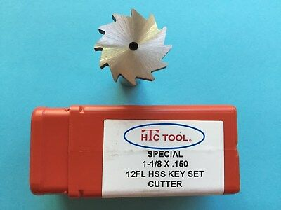 12 Tooth Keyseat Cutter 1-18 X .150 Face Width Hss 12 Shank X 2 Htc Usa