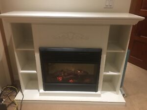 Electric Fireplace in Shelving Unit