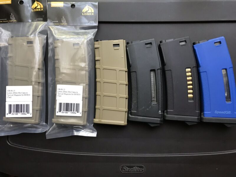 "Airsoft 3 PTS EPM magazines (2speedqb) and 3 new Lonex ""PMAG"" 200 rd mid caps"