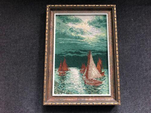 Vintage NEEDLEPOINT Sailboats Franciscaines Missionnaires de Marie Picture Frame