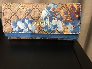 Gucci blooms blue wallet