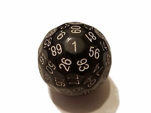 Black 100 Sided Dice by BrycesDice RPG Magic D&D with White Numbers Unique Rare