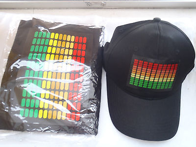 SOUND MUSIC Activated LED LIGHT UP FLASHING EQUALIZER DJ PARTY HAT AND TSHIRT