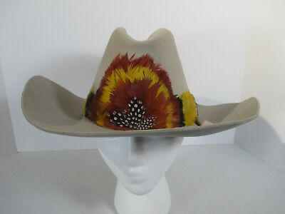 Cowboy Hat Trail Boss Tan Perma Felt Fur Blend Yellow Orange Feather Band 7 1/8