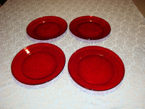 """Lot of 4 Arcoroc France Ruby Red Salad / Bread Plates 8"""""""