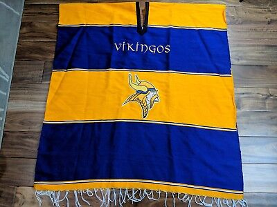 Minnesota Vikings Poncho NFL Zarape Serape Purple Yellow Mexican Game Day Jacket for sale  Chanhassen