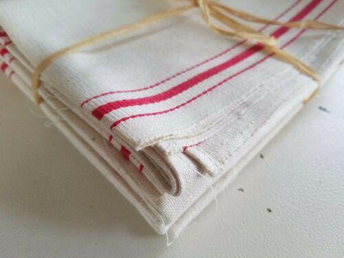 3) Vintage Linen KITCHEN TEA TOWEL Red Stripes UNUSED NOS Farmhouse Chic