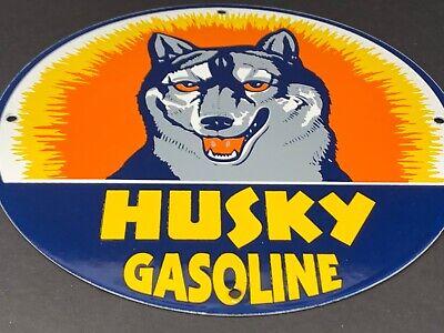 """VINTAGE HUSKY GASOLINE ADVERTISING 12"""" PORCELAIN GAS OIL ENAMEL PUMP PLATE SIGN"""