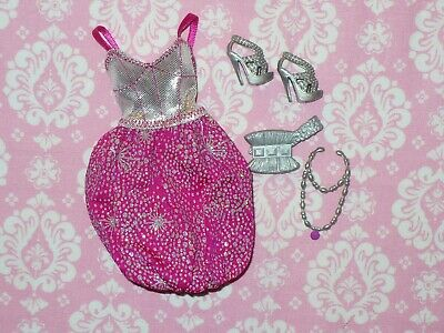 Mattel Barbie Doll Clothing Lot ~ FASHIONISTAS PINK PARTY DRESS and Accessories